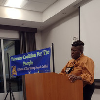 VA Campaign branch Secretary Angela Hill speaks to Tidewater Coalition