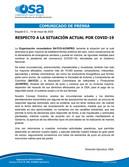 ¡IMPORTANTE! RESPECTO A LA SITUACIÓN ACTUAL EN EL PAÍS POR COVID-19.