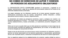 NO COBRO DE DERECHOS DE AUTOR Y CONEXOS EN PERIODO DE AISLAMIENTO OBLIGATORIO