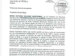 Respuesta del Ministerio de Transporte frente al no pago de los derechos de la música.