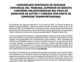 OBLIGATORIEDAD DEL PAGO DE DERECHOS DE AUTOR Y CONEXOS POR PARTE DE EMPRESAS TRANSPORTADORAS