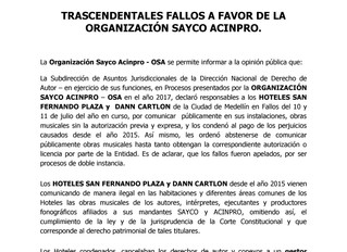 TRASCENDENTALES FALLOS A FAVOR DE LA ORGANIZACIÓN SAYCO ACINPRO.