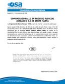 FALLO A FAVOR DE OSA EN PROCESO JUDICIAL, JUZGADO 3 C.C SANTA MARTA