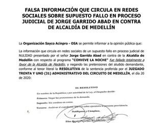 NIEGAN PRETENSIONES DE JORGE GARRIDO ABAD EN ACCIÓN DE NULIDAD, EN CONTRA DE LA ALCALDÍA DE MEDELLÍN