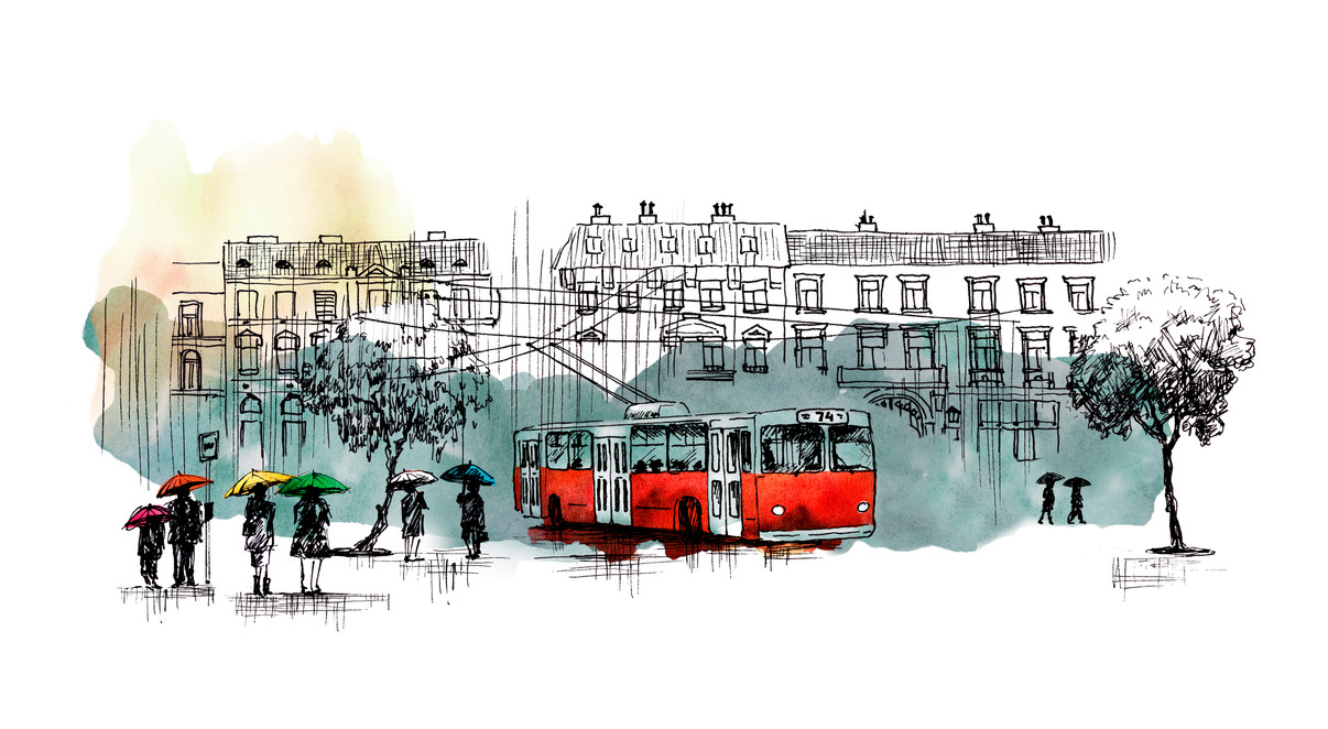 Red Trolley Budapest illustration