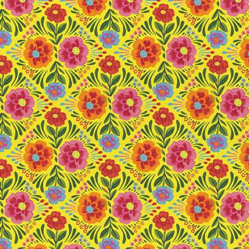 Viva Mexico - Large Floral Yellow $30 pm