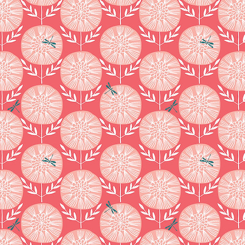 Summer Dance - Dragonflies Coral $28 pm
