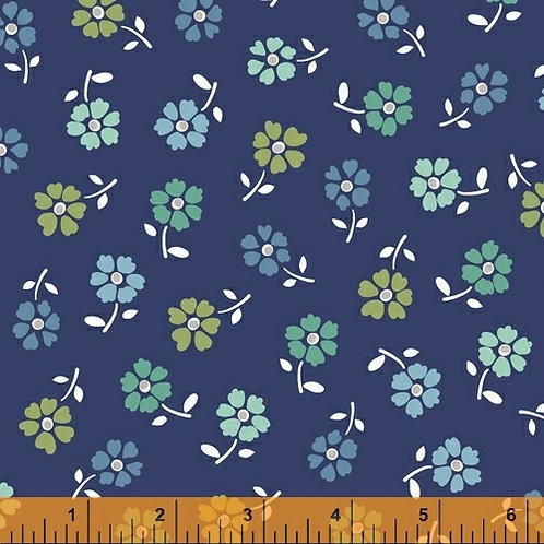 Backyard Blooms - Tossed Flowers Navy $30 pm