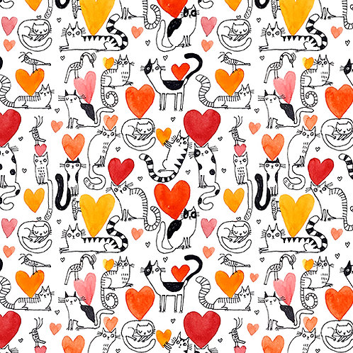 It's Raining Cats and Dogs - Hearts and Cats Coral $30 pm
