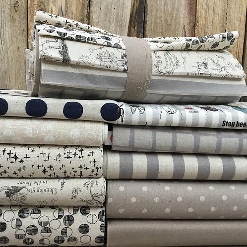 Cotton Linen Blend 10 x 25cm Strip Bundle - Neutral