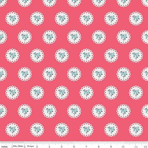 Abbie's Garden - Doily Raspberry $14 pm