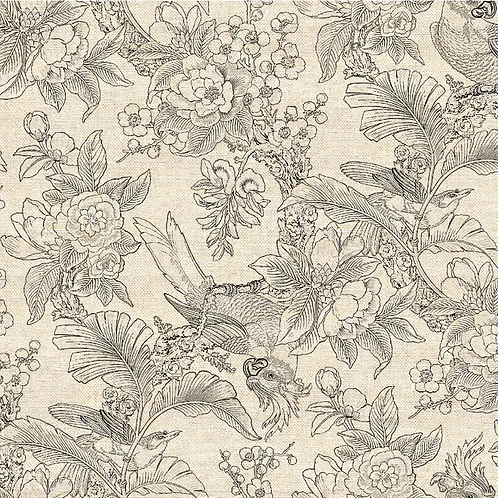 Chinoiserie Cotton/Linen - Black 1.4m wide$35 pm