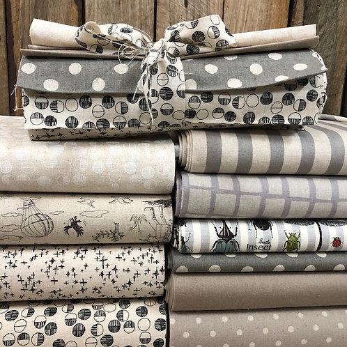 Cotton Linen Blend 10 x 50cm Strip Bundle - Neutral