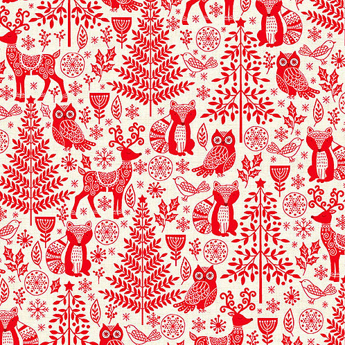 Scandi - Forest Animals Red $28 pm