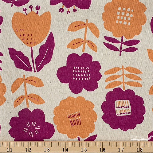 Plum and Peach Floral - Cotton/Linen $28 pm