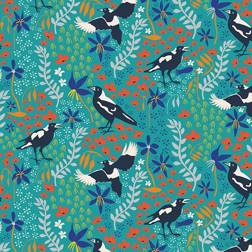 Taking Flight - Merry Magpies Teal $30 pm
