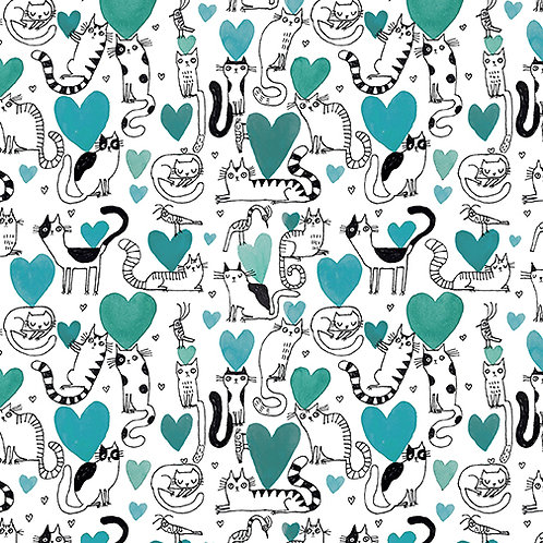 It's Raining Cats and Dogs - Hearts and Cats Teal  $30 pm