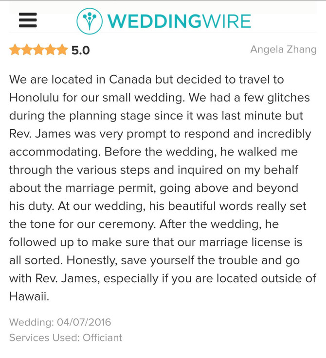 Hawaii Wedding Officiant, Minister, Celebrant Review