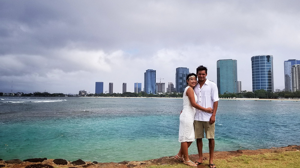 The skyline over a Magic Island Elopement