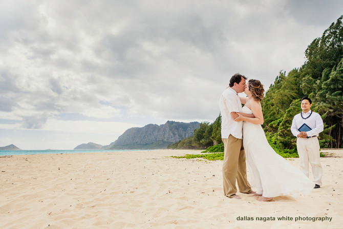 Hawaii Wedding Minister and Officiant  :  Rachel and Larry at Waimanalo Beach