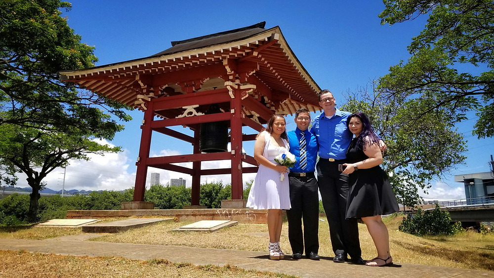 Japanese Peace Bell at Hawaii Wedding Elopement