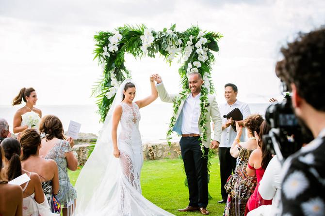 Chic White and Gold Destination Wedding at Lanikuhonua Hawaii