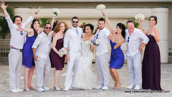 Such a fun loving couple married at the Outrigger Reef Waikiki