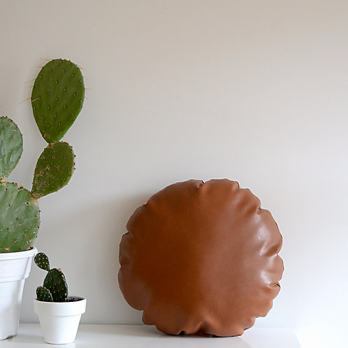 Round Faux Leather Pillow/ Camel Leather Pillow