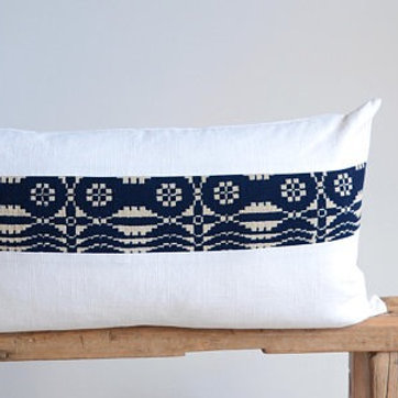 Lumbar Pillow Cover/Ivory Linen/Vintage Stripe/Modern/Accent Pillow/New Collecti