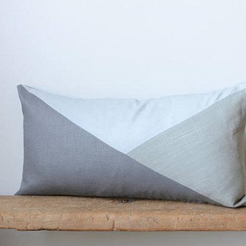 Lumbar Pillow Cover/Triangle/Dark Grey/Light Grey/Dove Grey