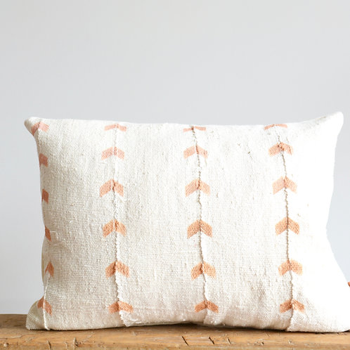 Mud Cloth Pillow Cover Lumbar with Zig Zag Hand Blocked Pattern in Dusty Coral