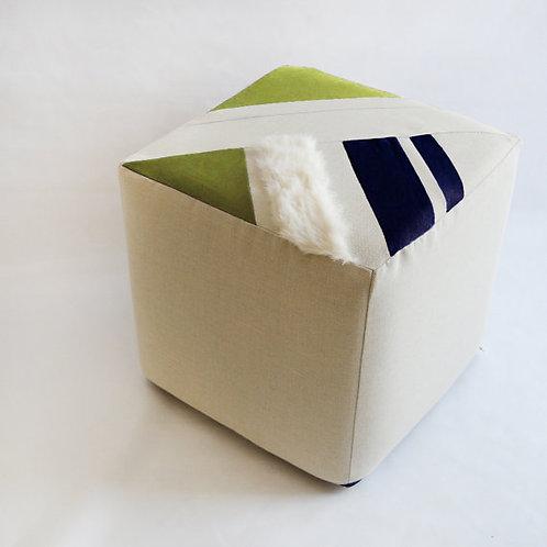 Cube/Ottoman/Modern Pouf/Custom Ottoman/Ivory/Navy Blue/Green Apple/Foot Stool/N