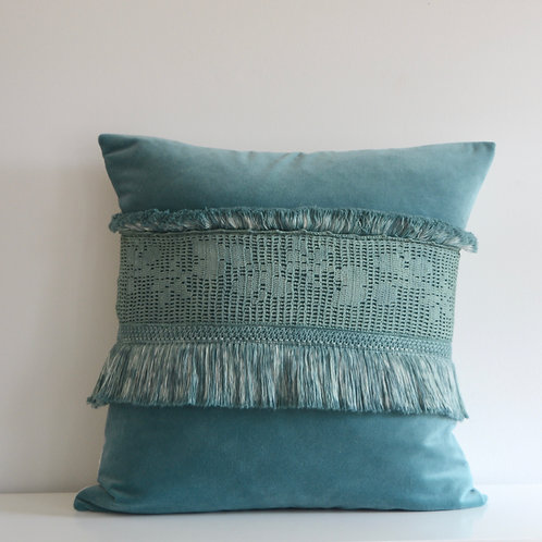 One of a Kind Hand Dyed Velvet Pillow cover with British Crochet.