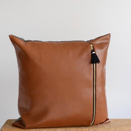 Faux Camel Leather Pillow with brass black zipper.