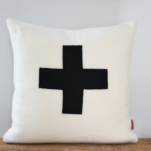 Woolen Ivory Pillow Cover with Black Felt Cross