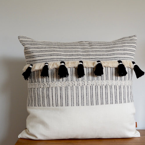 Fringe Pillow Linen Unique Black and White