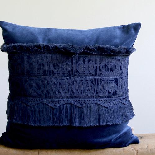 Royal Blue Hand Dyed Velvet, British Crochet, Soft Tassels, One of a kind