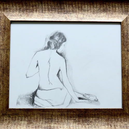 "Pencil Drawing/Woman/Back/Sitting11""x14""/Art Print/Matte Paper"