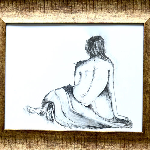 "Pencil Drawing/Woman/Back/Hand/11""x14""/Art Print/Matte Paper"