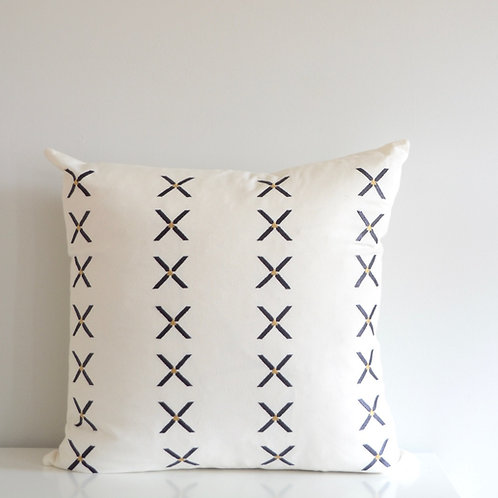 Embroidered Pillow Cover/Black and White Linen/Cross Pattern/Gold Triangles