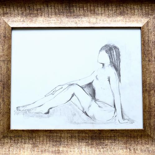 "Pencil Drawing/Woman/Side/Sitting16""x20""/Art Print/Matte Paper"