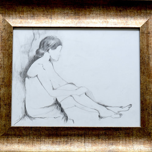 "Pencil Drawing/Woman/In Towel/Sitting11""x14""/Art Print/Matte Paper"
