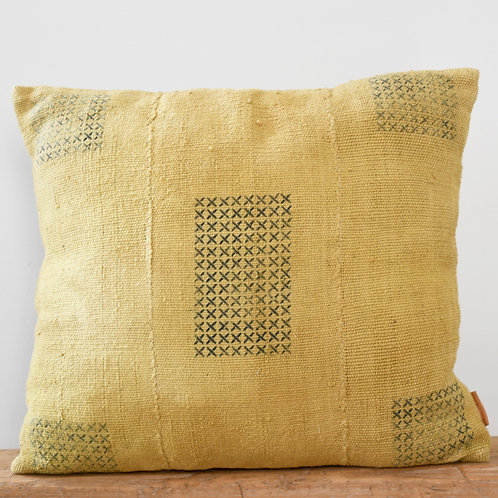 Hand Dyed Mud Cloth Pillow Cover Mustard