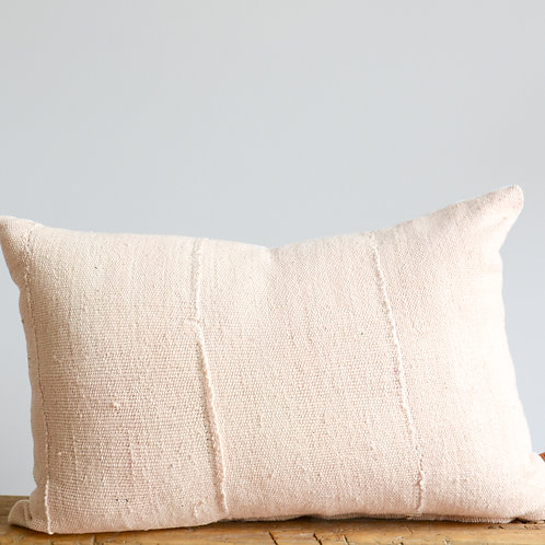 Mud Cloth Lumbar Pillow Cover in Blush Pink Hand Dyed