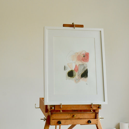 "Original Watercolor in blush, coral and black ""The new way"""