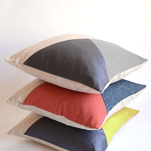 Modern Pillow/Natural/Wine Pillow/Marsala/Navy Blue Leather/Triangle/Custom Pill