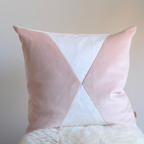 Pink Velvet Ivory Linen Pillow/Vintage Rose Pink Pillow/Pink Ivory Pillow Cover