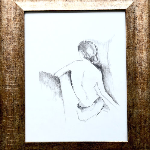 "Pencil Drawing/Woman/Back/11""x14""/Art Print/Matte Paper"