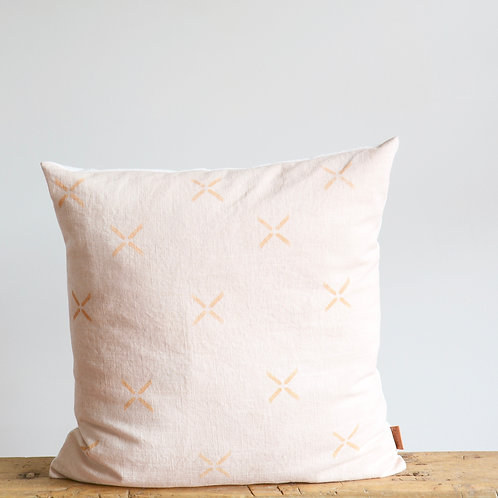 Blush Pink Linen Pillow Cover with Block Printed Cross