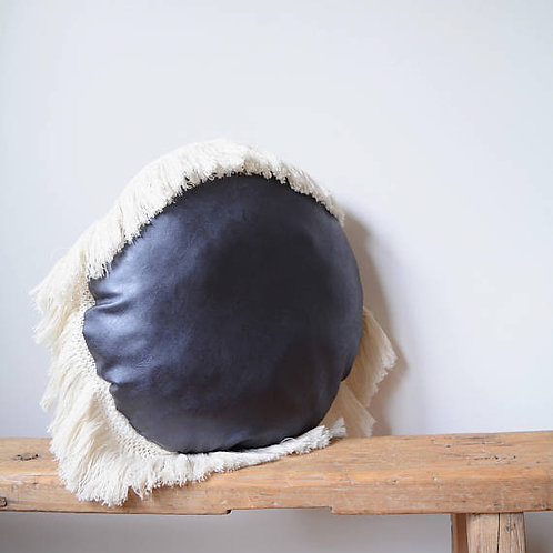 Round Faux Leather Pillow/Blue Pillow with Fringe